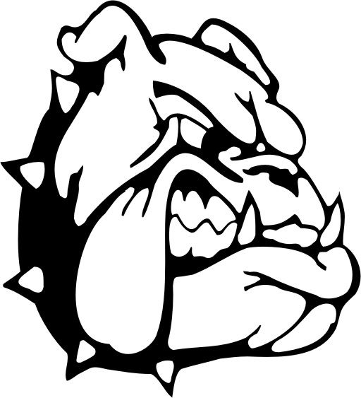 The mascot for McPherson High School is a Bullpup showing sharp teeth and wearing a spiked collar