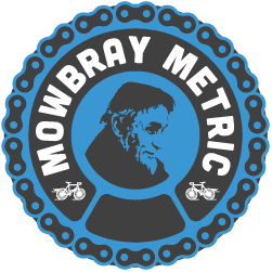 Logo for the Mowbray Metric Cyclist Event features blue and gray colors and a bicycle chain