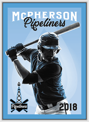 Blue and black graphic of a baseball player swinging a bat