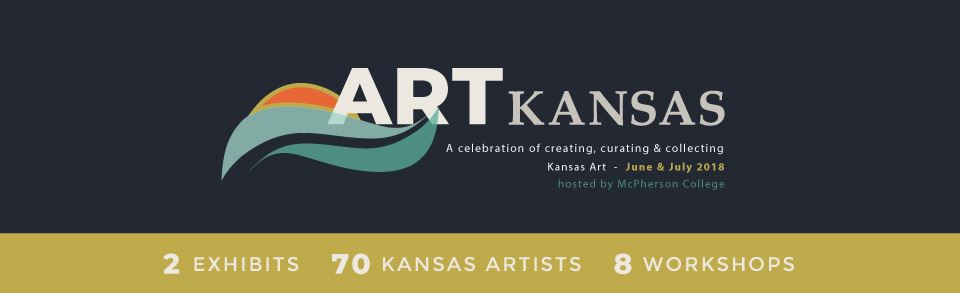 A banner with the words Art Kansas promoting an art conference at McPherson College