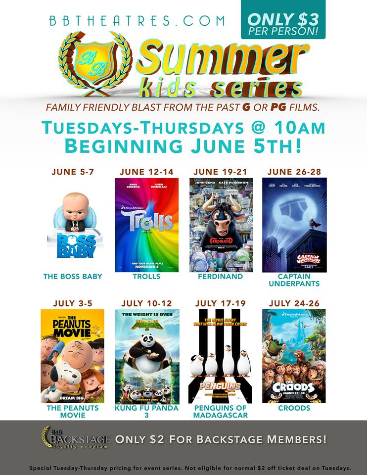 Movie poster featuring eight selections for a summer kids series