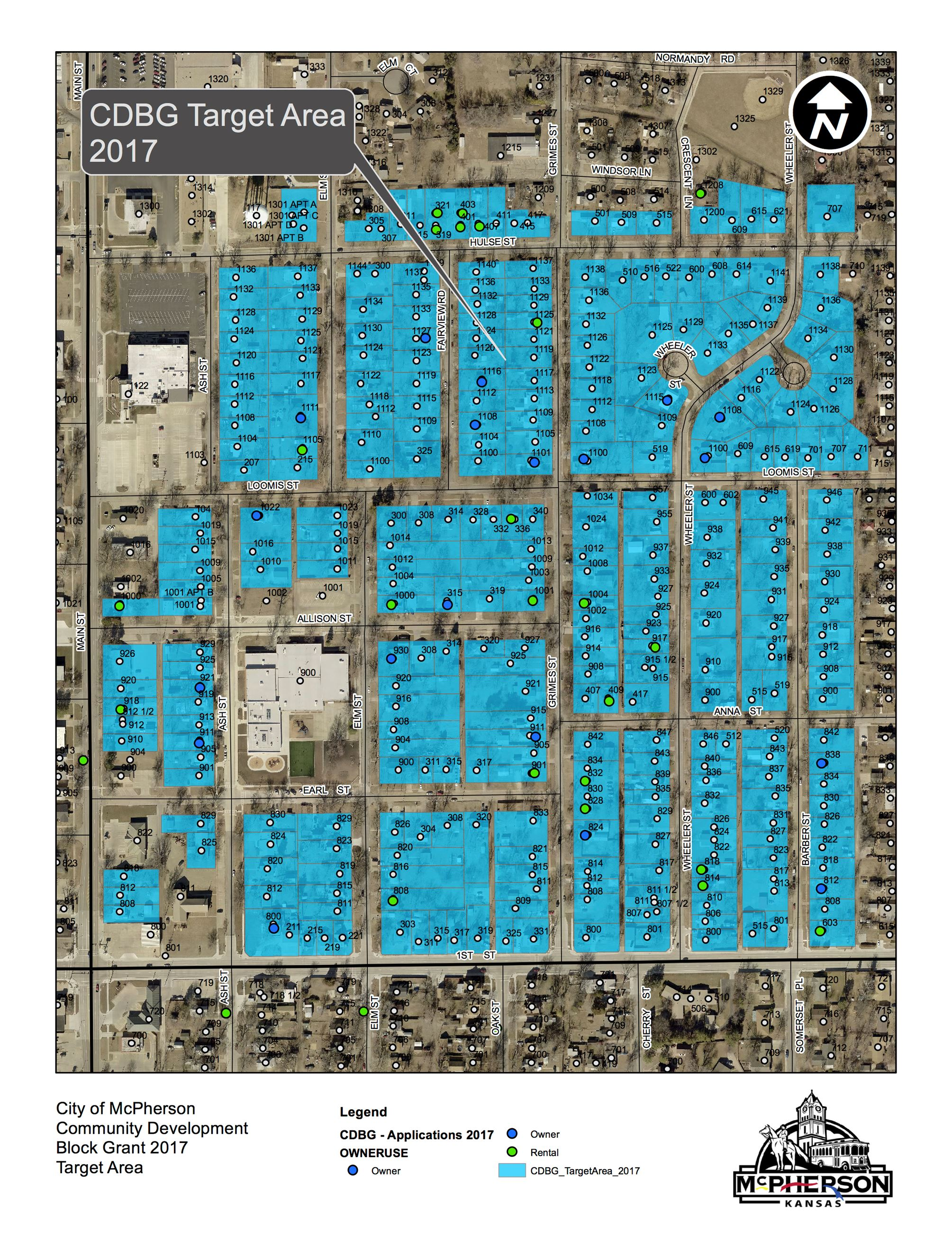 Neighborhood map designated target area for grant project