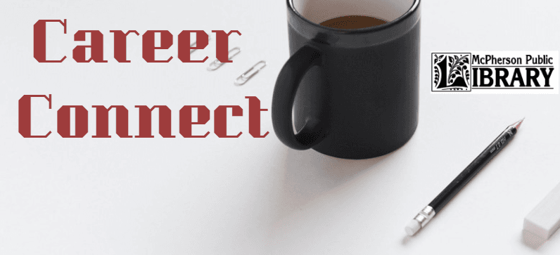 Black coffee cup sitting on white paper with a pen next to it along with the words CAREER CONNECT an