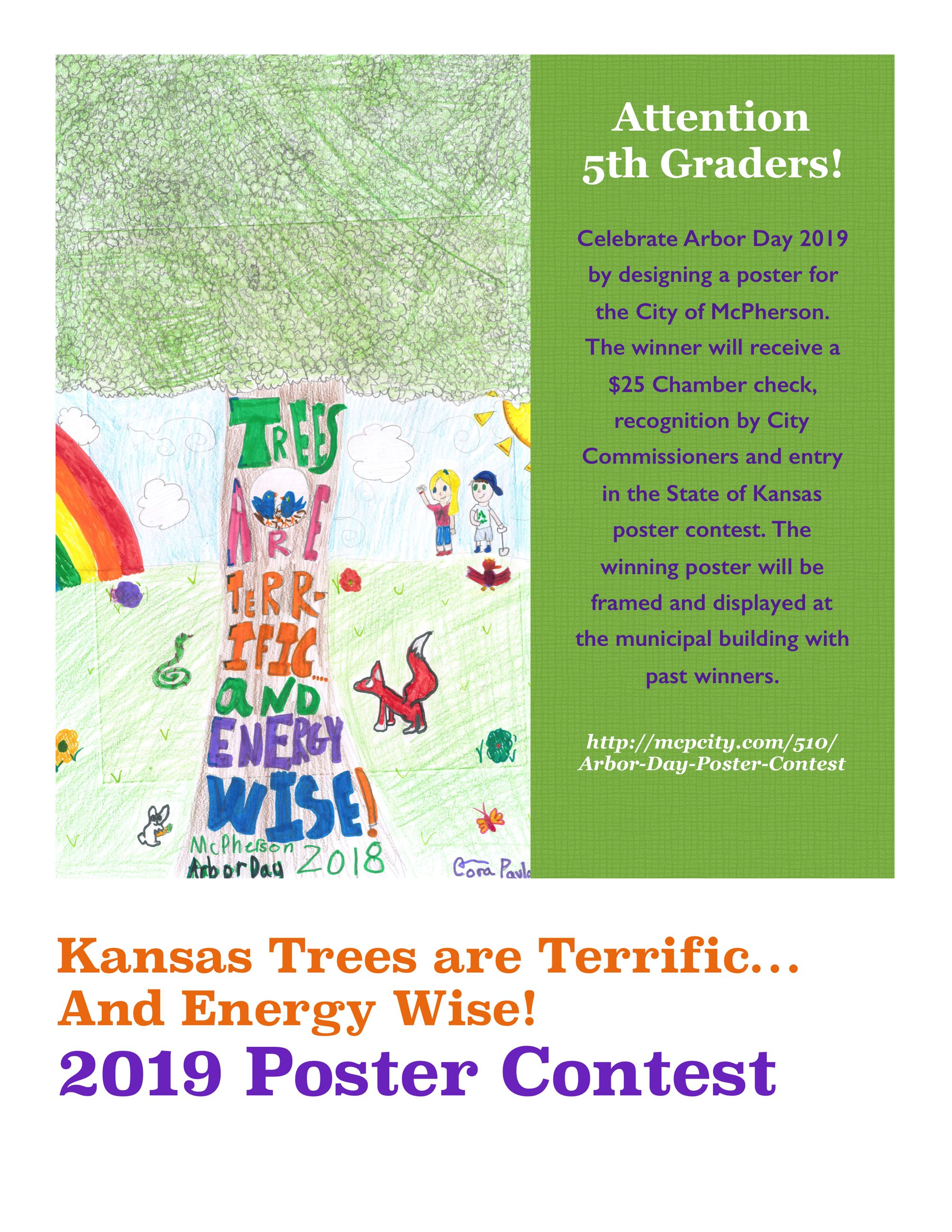 Poster with the words ATTENTION 5TH GRADERS and tree artwork promoting a poster contest