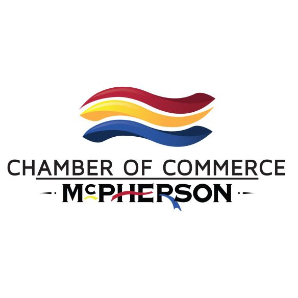 The words MCPHERSON CHAMBER OF COMMERCE in black with red, blue and yellow ribbons