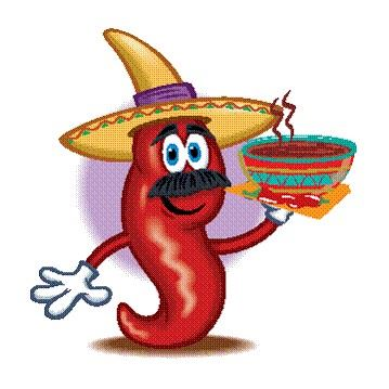 Animated red chili pepper wearing a sombrero and holding a bowl of chili