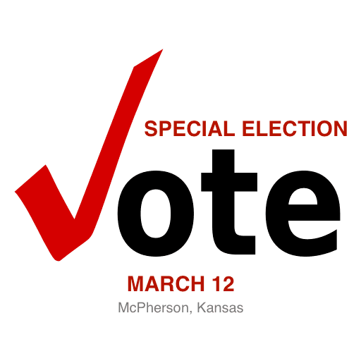 An ad encouraging McPherson Kansas residents to vote in a special election on March 12 2019