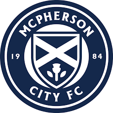 Navy and white logo for youth soccer club with the words MCPHERSON CITY FC
