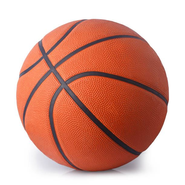 Picture of a orange basketball with black lines