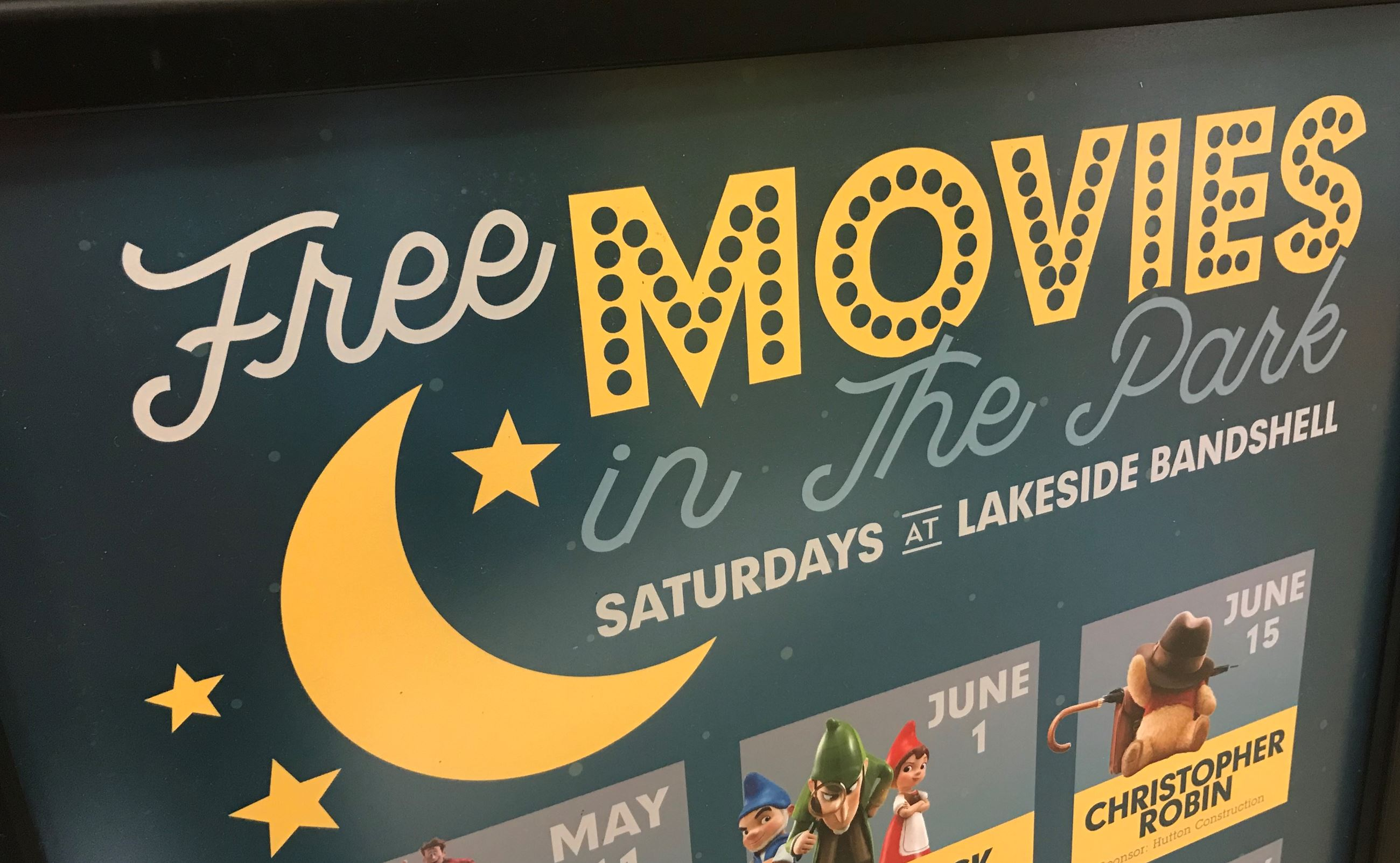 Poster heading with the words FREE MOVIES IN THE PARK