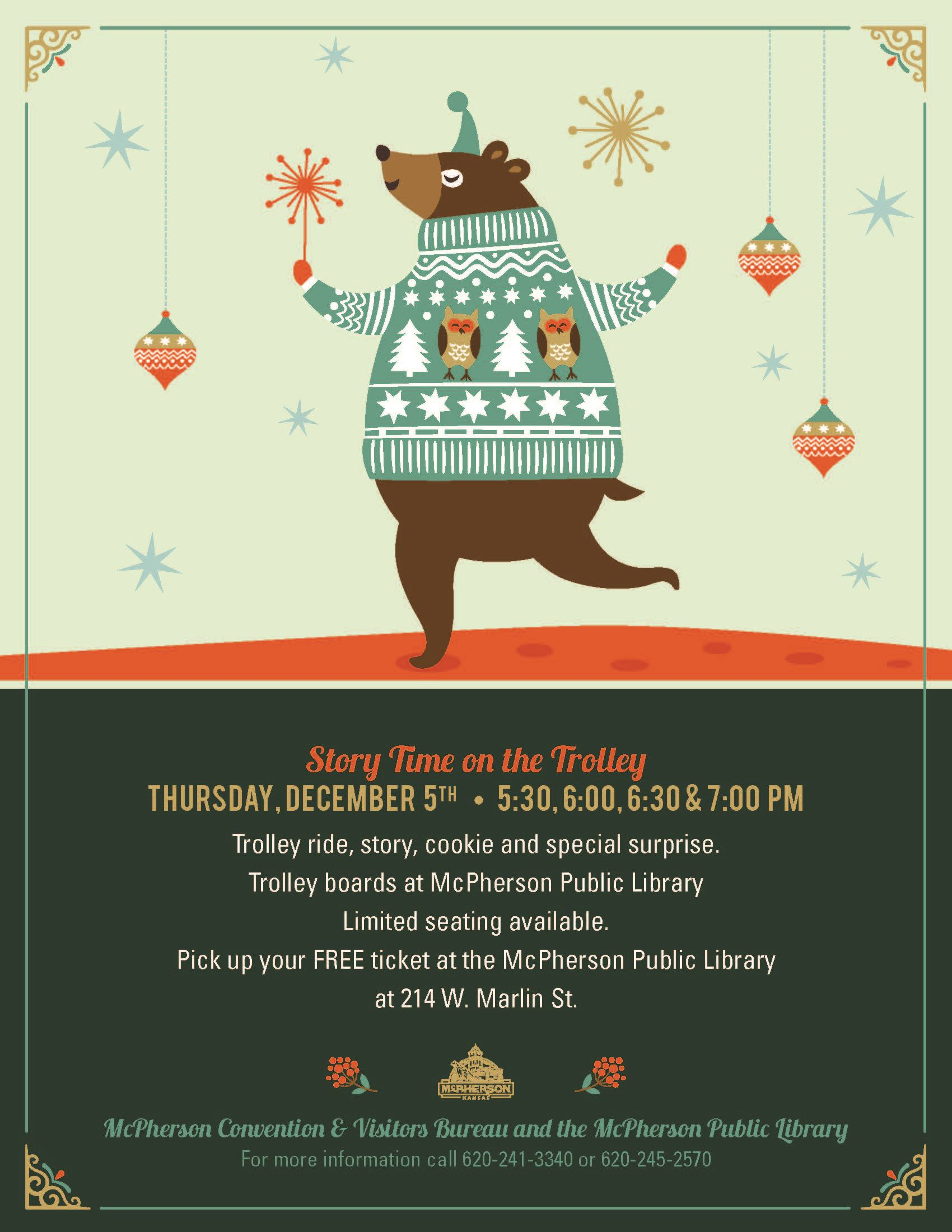 Poster using a cartoon bear to promote Story Time on the Trolley