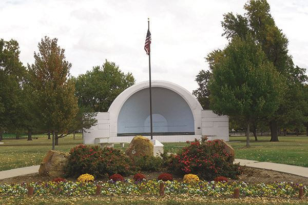 bandshell and flag